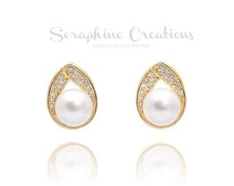 Gold Bridal Earrings Pearl Wedding Jewelry Pearl Earrings Swarovski Yellow Gold Sparkly Teardrop Cubic Zirconia Dangle Bridal Earrings K070G