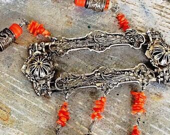 Antique huge sterling heron bird buckle coral beads assemblage statement necklace flapper art deco