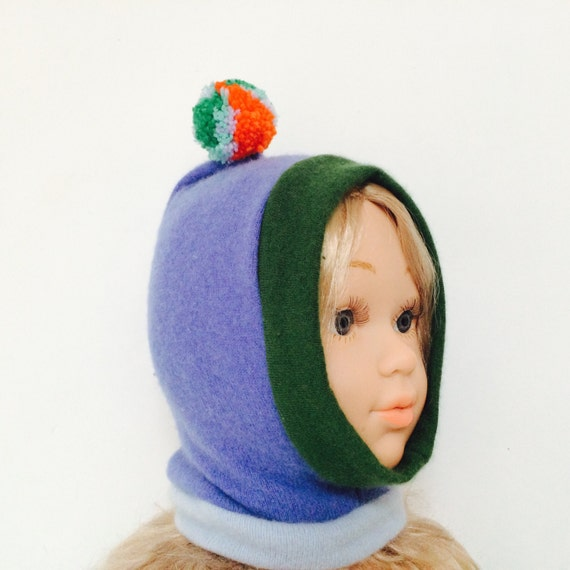 DIZZY 0-3 Months Cashmere Baby Hat Balaclava Bobble Hat Snood Hoodie Upcycled Cashmere Pom Pom Unisex