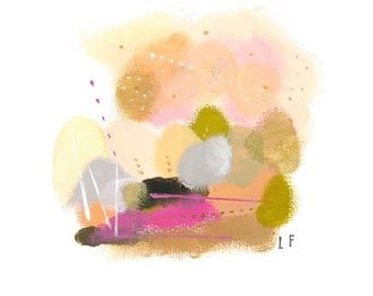 Gold and pink abstract landscape art print