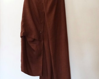 Xiao Studio Cinnamon Brown Asymmetric / Sculptural Linen Skirt S