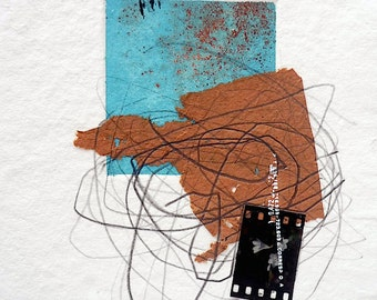 Original Printmaking and Collage on Handmade Paper. Small Etching Monoprint. Mixed Media Small Art. Abstract Small Print. Print and Drawing.