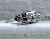Antique Three Stone Filigree Platinum Diamond Engagement Ring - 0.87ct.