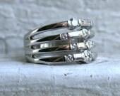 Wonderful Wide Vintage 14K White Gold Diamond Ring Wedding Band.