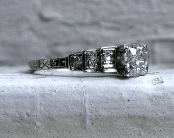 Pristine Vintage Art Deco 18K White Gold Diamond Engagement Ring - 0.87ct.