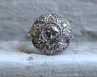RESERVED - Intricate Vintage Platinum Diamond Art Deco Engagement Ring - 1.06ct