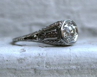 Vintage Filigree 18K White Gold Solitaire Diamond Engagement Ring by Belais - 1.00ct.