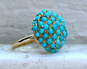 Vintage 14K Yellow Gold Turquoise Conversion Ring.