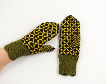 Hand Knitted Mittens - Black, Yellow and Green, Size Small