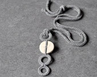 Geometric ceramic necklace / Ceramic pendant / Raku pendant necklace / Crochet necklace / Grey pastel necklace / Ceramic jewelry