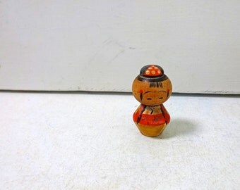 1.3in Vintage Japanese Miniature Wood KOKESHI Doll