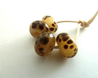 handmade lampwork cream and brown frit beads, UK set