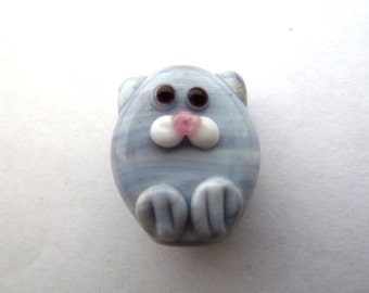 handmade lampwork glass cat beads, lilac animal focal UK