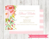 Pink Floral Baby Girl Shower Invitation | Flower Sip and See Invite | Baby Sprinkle Printable