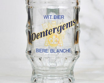 Vintage Dentergems Glass Stein, WitBier (Wheat Beer) Biere Blanche (White) Beer Mug, Bier Stein, Brewery Riva, Beer Glass, Barware, Bier Mug