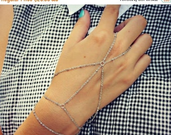 FALL SALE silver  slave bracelet, silver hand chain, ring bracelet, slave ring, unique bracelet, silver hand piece
