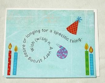Handmade WISH Definition Birthday Greeting Card