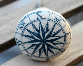 Compass Knob White and Blue Round Ceramic Knob Cabinet Knob Dresser Knob Rustic