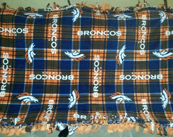 Denver Broncos Fleece Tie Blanket