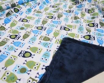 Baby Boy MINKY Blanket, Minky Baby Blanket, Baby Boy Blanket, Blue Green Baby Owls Woodland Baby Blanket, Personalized Boy Baby Blanket