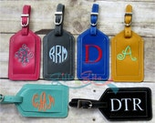 Bag tag, luggage tag, Personalized embroidered custom leather luggage tag, monogrammed leather luggage tag