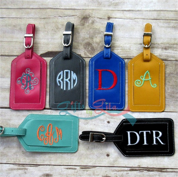 Bag tag luggage tag personalized embroidered custom leather for Embroidered tags personalized