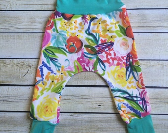 Watercolor Floral Organic Knit Pants Sizes 0/3 Months- 6. Organic clothing for Babies, Toddlers & Children