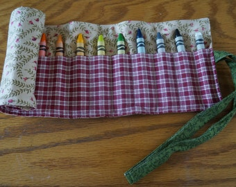 READY TO SHIP Fabric Crayon Roll for 16 Crayons