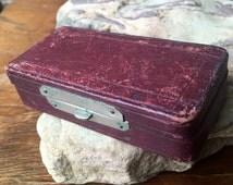 Red Leather Pill Box, Trinket Box, Rectangular Box