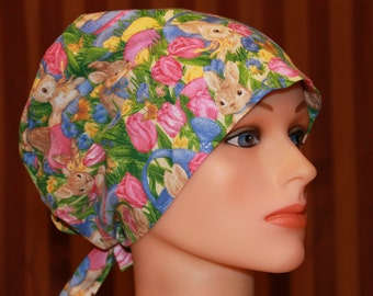 Tie Back Surgical Scrub Hat/Chemo Hat--Peter Rabbit