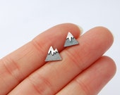 mountain studs sterling silver tiny earrings