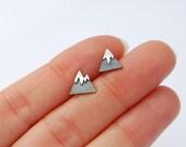 RESERVED for Karen - mountain studs sterling silver tiny earrings