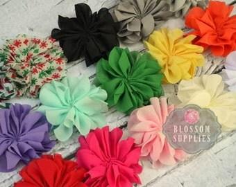 The Isla Collection - Chiffon Ballerina Flowers - DIY Flower Headband - Holiday Wedding Bridal Flowers - U Pick Colors - Flat Ruffle Roses