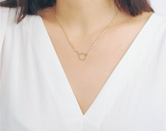 Delicate simple everyday tiny open circle necklace