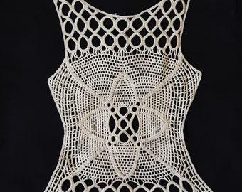 Ivory Lace Crocheted Garment Yoke Applique, Front Yoke Collar, Back Yoke Collar