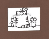 ACEO, Cat, ATC, Art Trading Card, Original Drawing, Ink, Kid Friendly