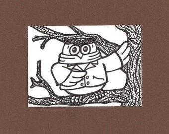 ACEO,  ATC, Owl, Original, Art Trading Card, Hand Drawn, Kid Friendly, Black and White