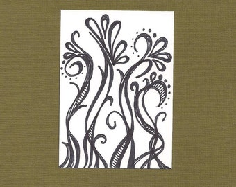 ACEO, ATC, Art Trading Card, Vines, Black and White, Original Drawing, Ink Illustration, Hand Drawn