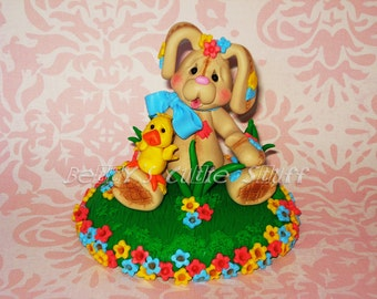 Easter Bunny & Chick - Polymer Clay Figurine Collectibles