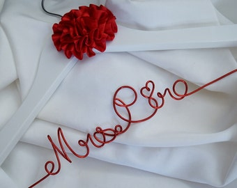 Bridal Gown Hanger With Satin Flower, Personalized & Customized Colors