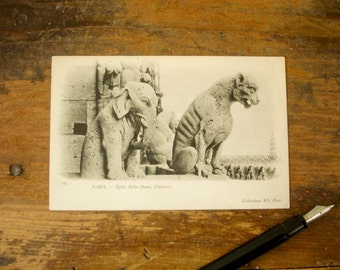 Circa 1906 Vintage French Postcard Gargoyle Elephant & Cat Notre Dame Cathedral Paris, France Chimère Post Card Undivided Back #149
