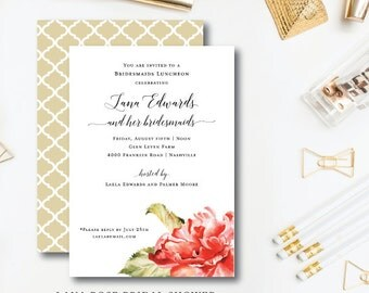Lana Rose Bridesmaids Luncheon   Party or Bridal Shower Invitation   Printed or Printable by Darby Cards