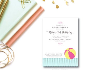 Wave Pool Printed Birthday Invitations   Pool, Beachside Birthday, Engagement Party Invitation   Printed or Printable by DarbyCards
