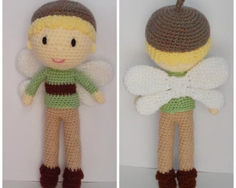 Freddie the Forest Sprite, pixie, imp, Fall, fairy, doll, crochet, toy