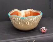 Moroccan Lace Ring Bowl - Bohemian Decor - Gypsy Ring Bowl - Turquoise Pearl Khaki Tan Bronzed Poppy - Handmade Polymer Bowl
