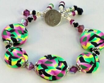 SALE! Believe charm black, pink and green kaleidoscope polymer clay bracelet, swarovski fuchsia jet, peridot boho charm bracelet in polymer
