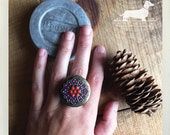Cherry Grape. Adjustable Locket Ring -- (Vintage–Style, Rustic Chic, Boho, Antiqued Brass, Bright, Locket, Christmas Gift For Her Under 15)