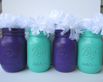 Painted and Distressed Ball Mason Jars- Dark Purple and Turquoise/Teal/Seafoam-Set of 4 Flower Vases, Rustic Wedding, Centerpieces
