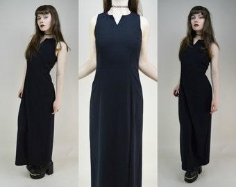 90s Minimal Black V Neck Sleeveless Viscose Tank Maxi Dress S