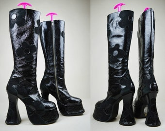 90s Black Patent Leather Suede Floral Wavy Heel Platform Knee Boots UK 3 / US 5.5 / EU 36